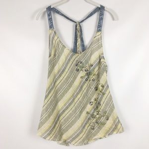 FREE PEOPLE | floral open back tank top 0387